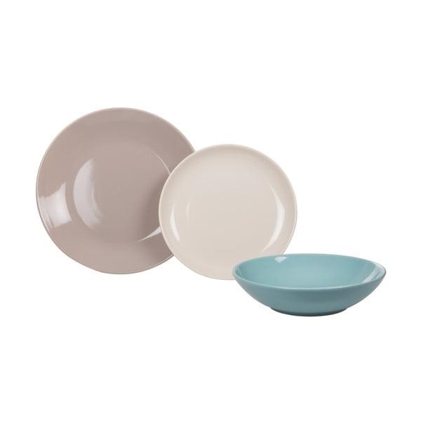 18dílná sada talířů Kaleidos, modro-šedá