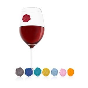 Sada 8 kusů samolepek na sklenici na víno Vacu Vin