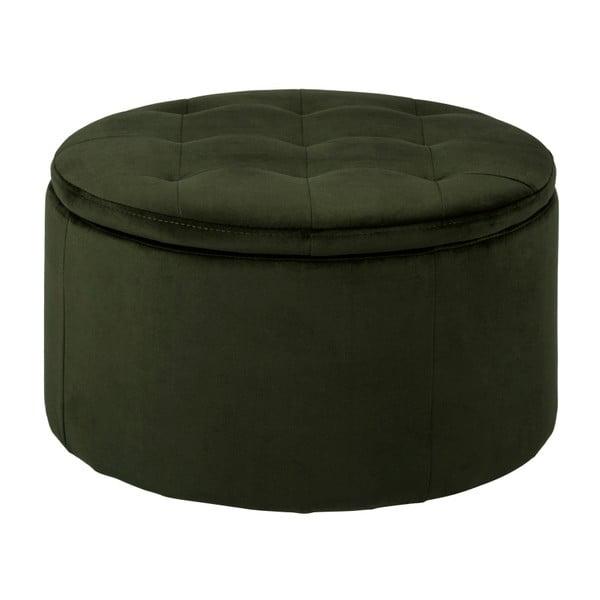 Taburet cu spațiu de depozitare Actona Vic, ⌀ 60 cm, verde închis