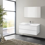 Koupelnová skříňka s umyvadlem a zrcadlem Flopy, odstín bílé, 100 cm