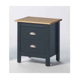 Šedý noční stolek z borovicového dřeva se 2 zásuvkami SOB Jayde