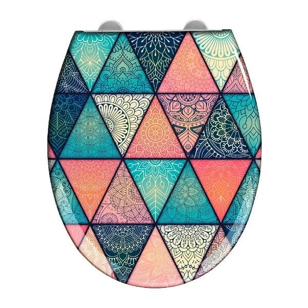 Capac WC cu închidere lentă Wenko Easy Geometry, 44,5 x 37 cm