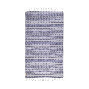 Modrá hammam osuška z bavlněných a bambusových vláken Begonville Heritage, 180x95cm