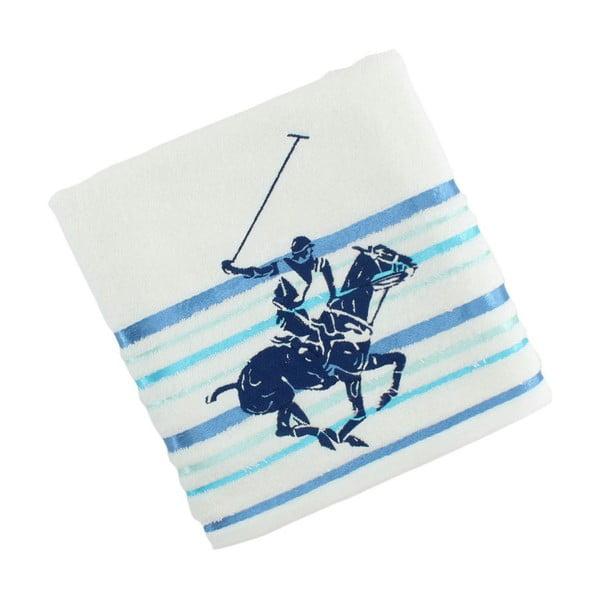 Bílo-modrý bavlněný ručník BHPC Velvet, 50x100 cm