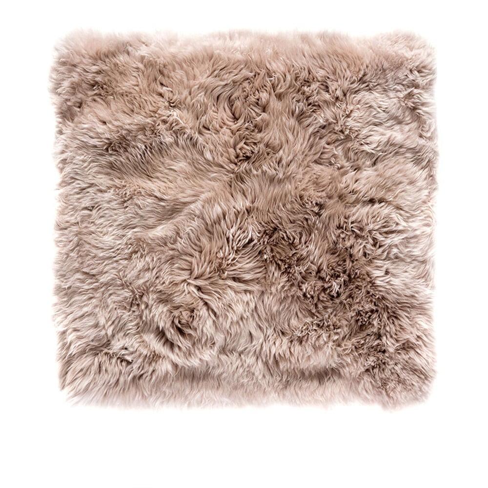 Světle hnědý čtvercový koberec z ovčí vlny Royal Dream Zealand, 70 x 70 cm