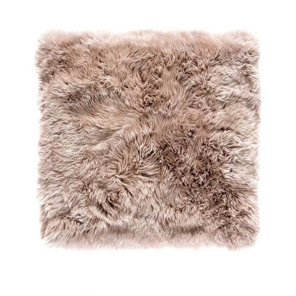 Světle hnědý čtvercový koberec z ovčí vlny Royal Dream Zealand, 70x70cm
