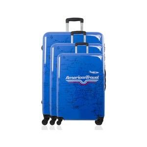 Sada 3 modrých cestovních kufrů na kolečkách American Travel