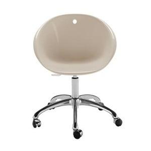 Béžová židle na kolečkách Pedrali Gliss