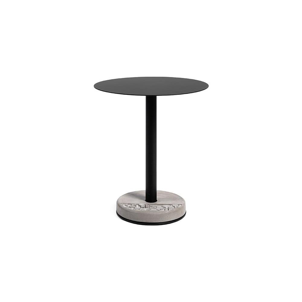 Černo-šedý kovový barový stolek s betonovou základnou Lyon Béton Ronde, ø 61,8 cm