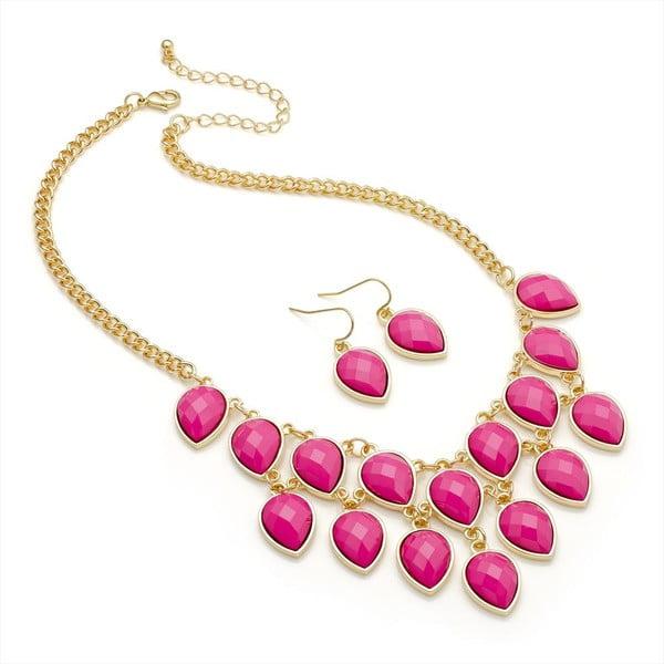 Set náhrdelník a náušnice Lauren Pink