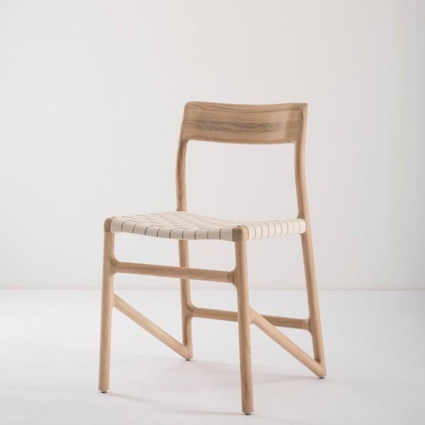 Fawn étkezőszék tömör tölgyfából, fehér ülőrésszel - Gazzda