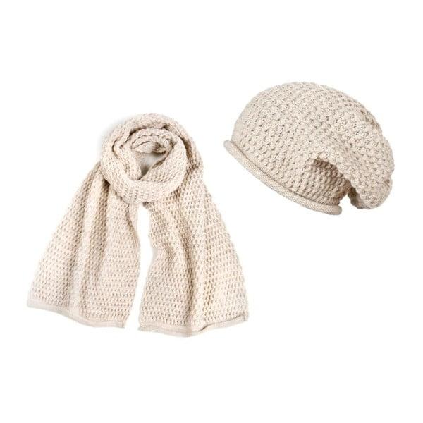 Krémová čepice se šálou Lavaii Elegant