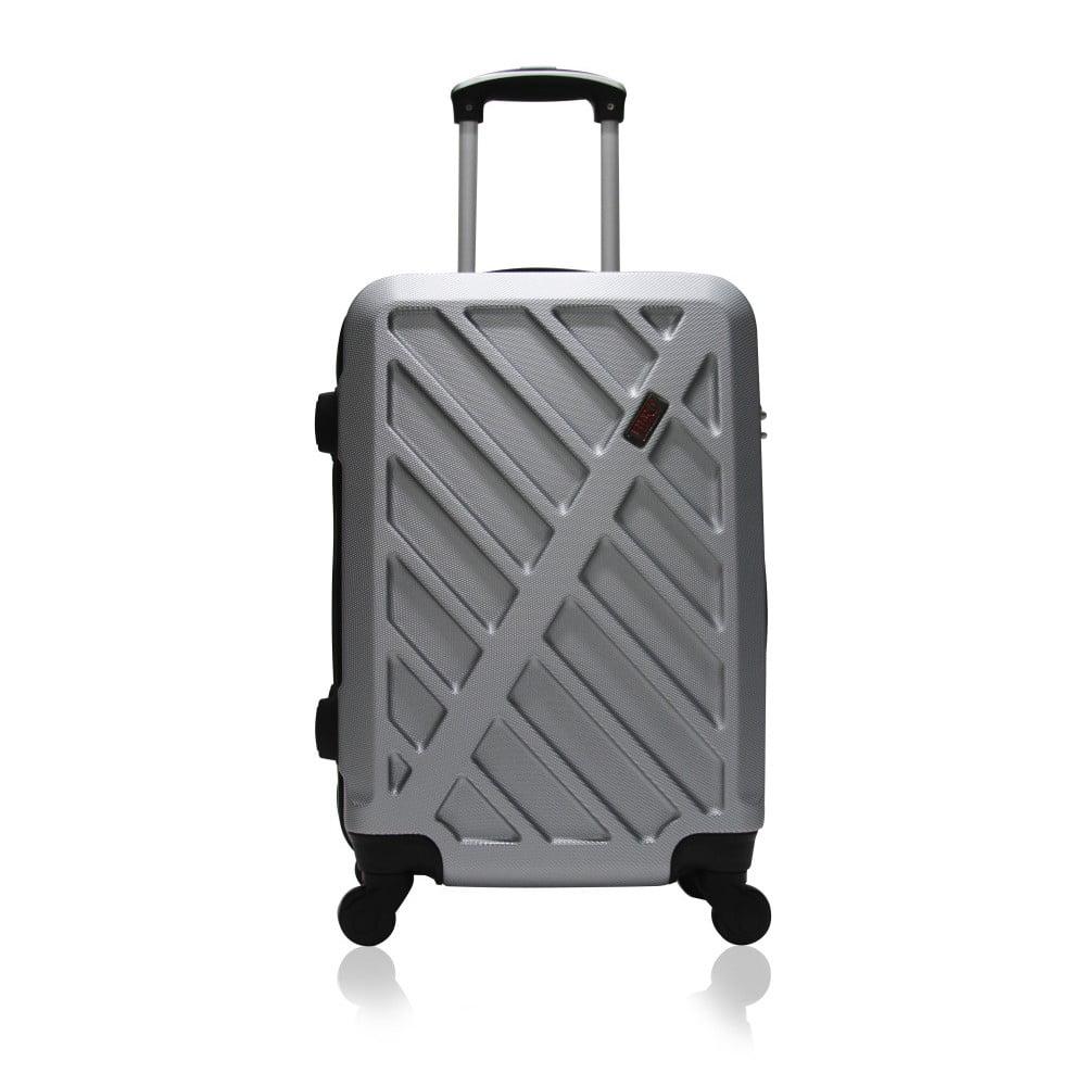 Šedý cestovní kufr na kolečkách Hero Lock, 61 l