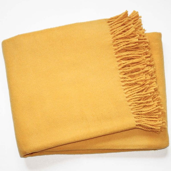 Žlutý pléd s podílem bavlny Euromant Basics, 140 x 180 cm