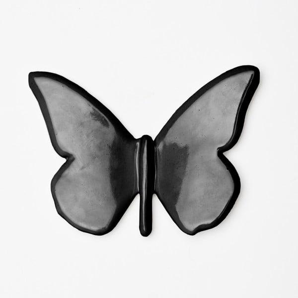 Čierna ručne vyrobená nástenná dekorácia Velvet Atelier Mariposa