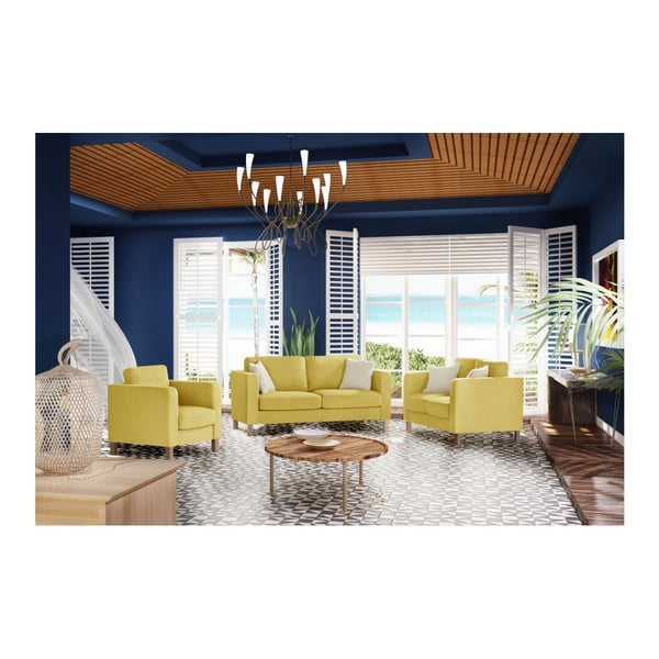 Žlutá dvoumístná pohovka se 2 krémovými polštáři Stella Cadente Maison Canoa