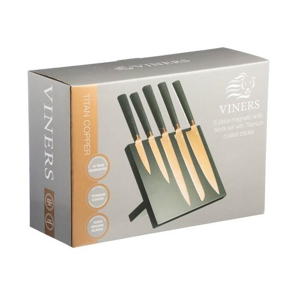 Sada 5 nožů se stojanem Titan Copper