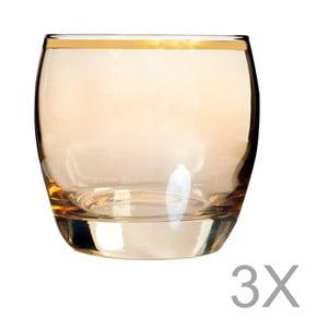 Sada 3 oranžových skleniček s okrajem zlaté barvy Mezzo, 200 ml