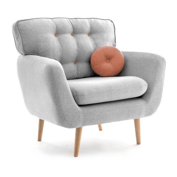 Jasnoszary fotel z łososiową poduszką VIVONITA Malva