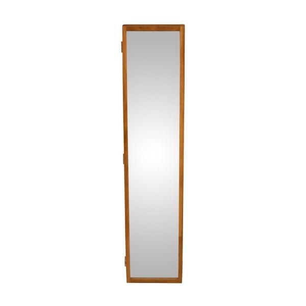 Nástěnné zrcadlo s boxem na klíče z masivního dubového dřeva Canett Uno, 20x90cm