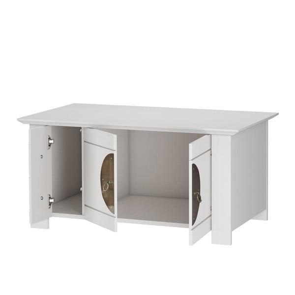 Bílý odkládací stolek/komoda z borovicového dřeva Støraa Sinai