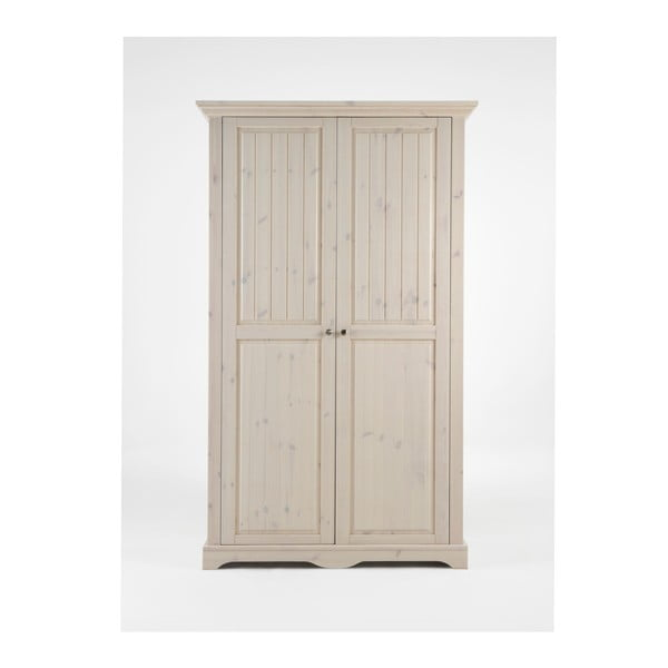 Bílá šatní skříň z borovicového dřeva Steens Lotta, 201,8 x 120 cm