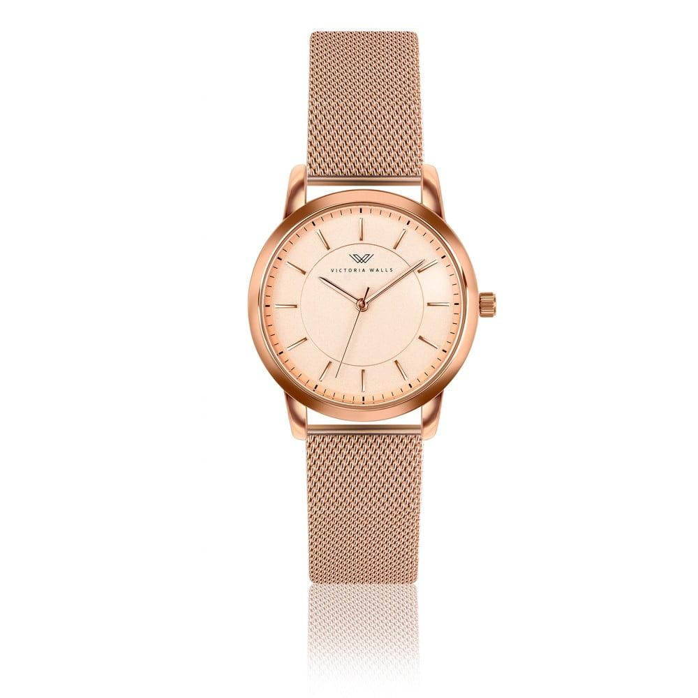 Dámské hodinky s páskem z nerezové oceli v růžovozlaté barvě Victoria Walls Amelia