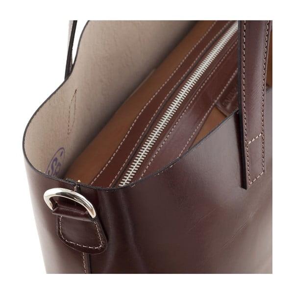 Kožená kabelka Italian Simplicity, hnědá