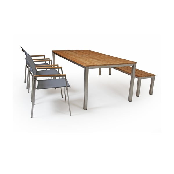 Sada 6 šedých zahradních židlí Brafab Hinton
