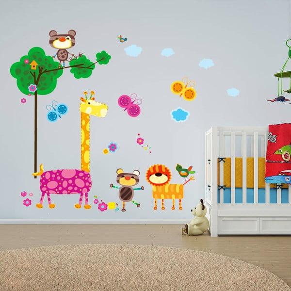 Samolepka na stěnu Žirafa a zvířátka, 60x90 cm