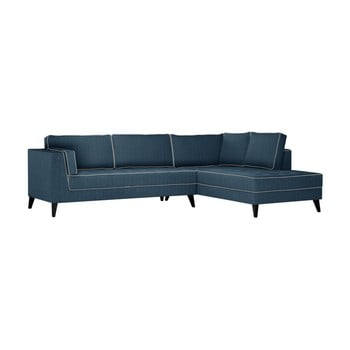 Canapea cu detalii crem Stella Cadente Maison Atalaia, pe partea dreaptă, albastru denim de la Stella Cadente Maison