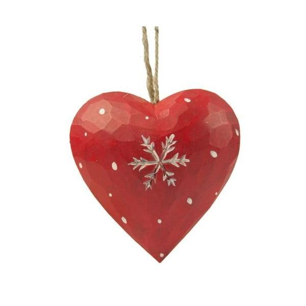 Závěsná dekorace Antic Line Heart with snowflake in red