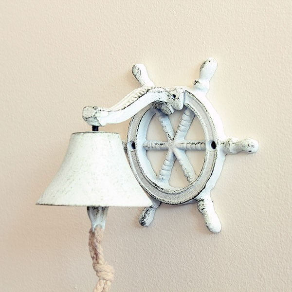 Litinový nástěnný zvonek Sea, bílý