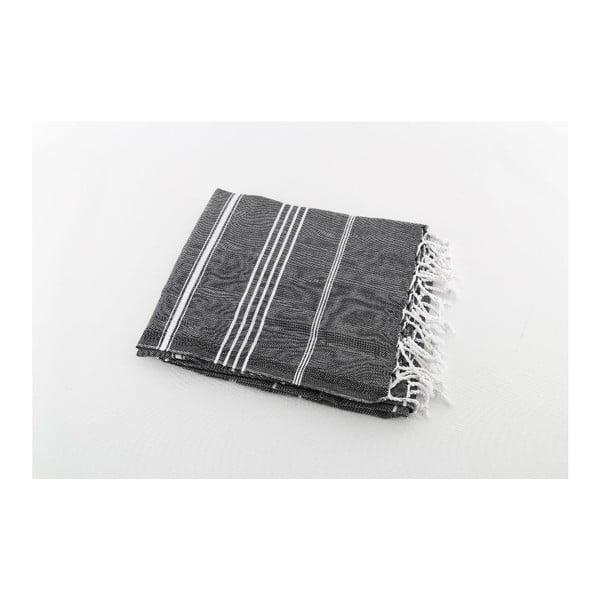 Černá bavlněná osuška Hammam Sultan, 100x180 cm
