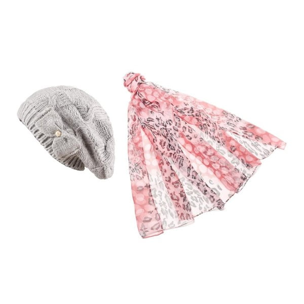 Čepice se šátkem Pink and Grey