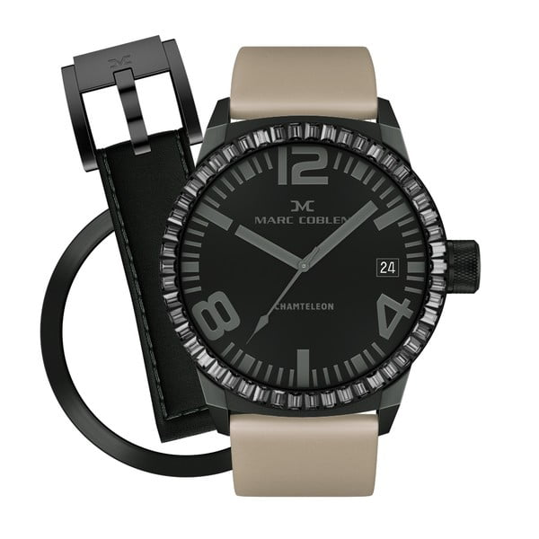 Dámské hodinky Marc Coblen s páskem a kroužkem navíc P114