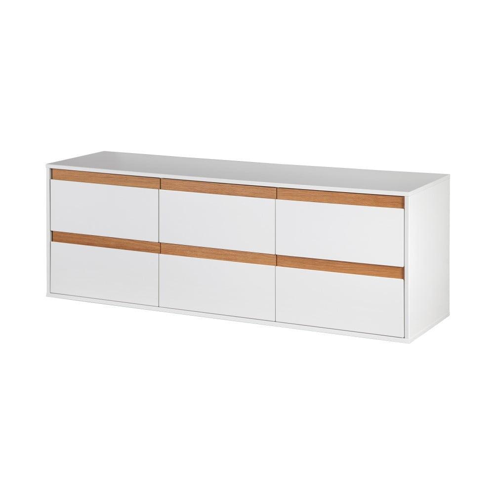 Bílá nástěnná komoda s dřevěnými detaily Dřevotvar Ontur11