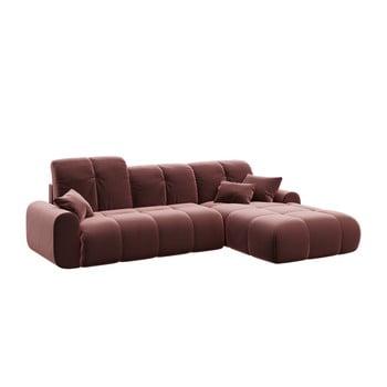 Canapea extensibilă cu șezlong pe partea dreaptă Tous, roz închis