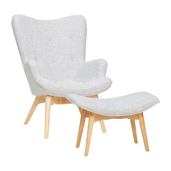 Jasnoszary fotel z podnóżkiem Hübsch Denbt