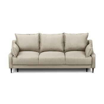 Canapea extensibilă cu 3 locuri și spațiu pentru depozitare Mazzini Sofas Ancolie, bej de la Mazzini Sofas