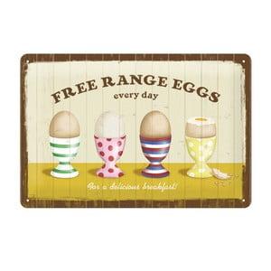 Plechová cedule Free range eggs, 20x30 cm