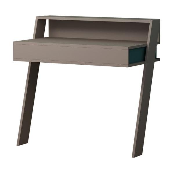 Šedý pracovní stůl s tyrkysovými detaily Homitis Cowork