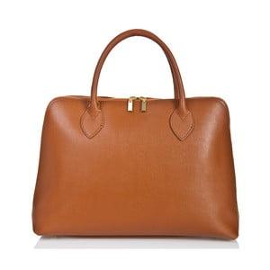 Koňakově hnědá kožená kabelka Massimo Castelli Liana