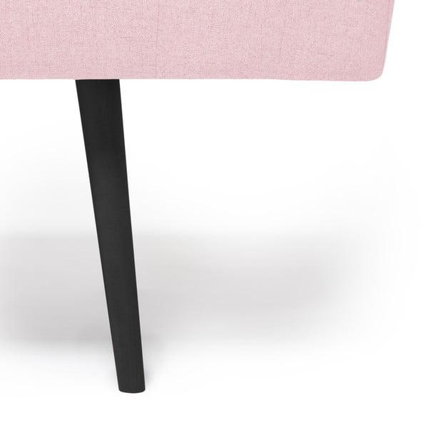 Pudrově růžová lenoška s podhlavníkem a černými nohami Vivonita Ella