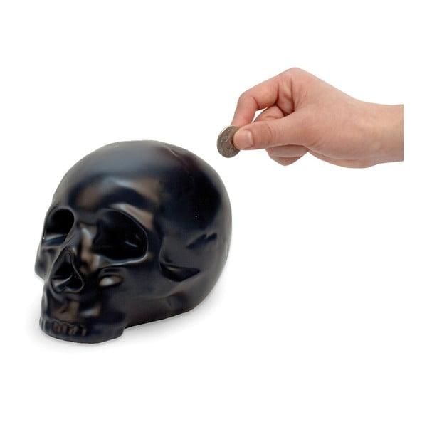 Černá keramická pokladnička Kikkerland Coin Skull