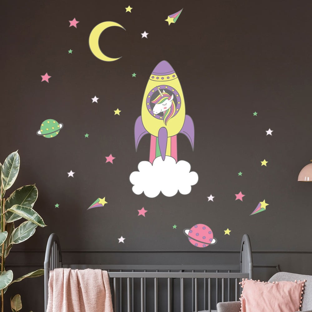 Dětské samolepky na zeď Ambiance Unicorn in Rocket
