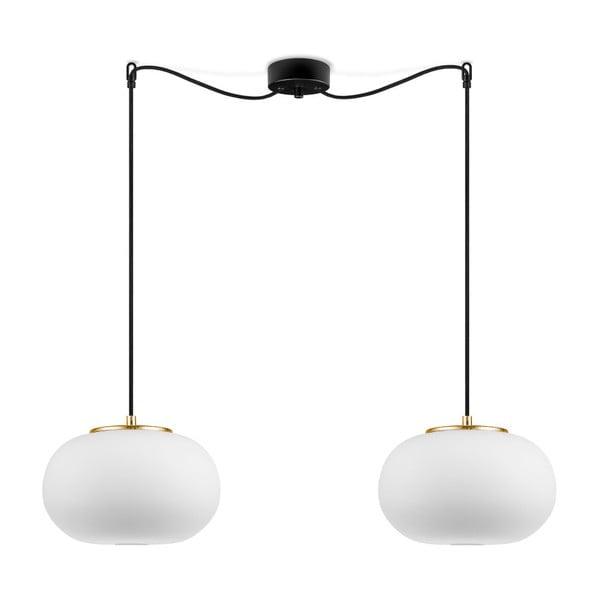Biała lampa wisząca z 2 abażurami i obwódką w kolorze złota Sotto Luce DOSEI
