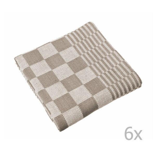 Sada 6 hnedých utierok Tiseco Home Studio Mineur, 65 × 65 cm