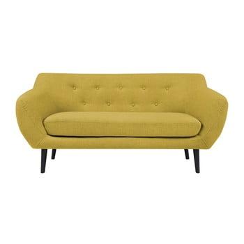 Canapea cu 2 locuri și picioare maro Mazzini Sofas Piemont galben