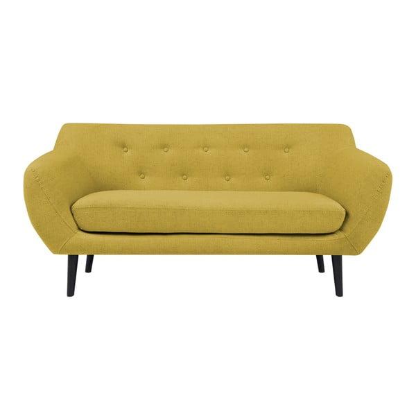 Piemont sárga kétszemélyes kanapé, barna lábakkal - Mazzini Sofas